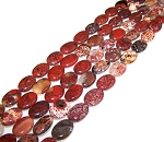 1 Strand of 13x18mm Puff Oval Semiprecious Gemstone Beads - Brecciated Jasper